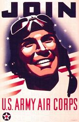 Ww2 American Propaganda Poster Us Army Air Corps - Wwii Recruiting Poster