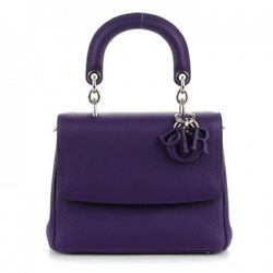 CHRISTIAN DIOR Small BE DIOR  Flap Bag Purse in Purple Leather *wReceipt