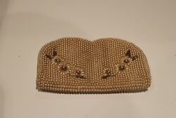 vintage Japanese pearl seed bead clutch evening bag dainty and elegant