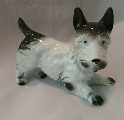 Vintage Porcelain Ceramic Scottish Terrier Germany #7594 Black and White Dog