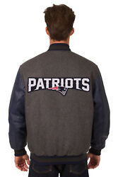 Nfl New England Patriots Jh Design Leather Reversible Wool Twill Jacket 203 Rev7