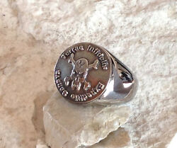 Sterling Silver 925 Usmc Latin Ring Army Badge Pin Patch Military D102