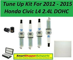 Tune Up Kit For 2012-2015 Honda Civic 2.4l Cabin Filter, Oil Air Filter, Spark P
