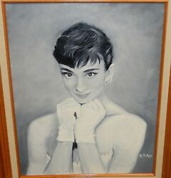 Audrey Hepburn Original Acrylic On Canvas Painting Signed By A Baker