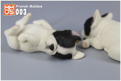 French Bulldog white amp; Black sleep Hand Painted Resin Figurine Statue A pair