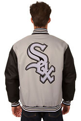 Mlb Chicago White Sox Jh Design Poly Twill Jacket Bnwt Sox P03 Bs27 Gry-blk