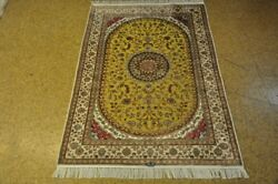 Rugs Lowest Price Olive Green Hand-knotted 4and039 X 6and039 Silk Rug