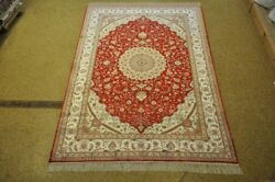 Classy Collection Hand-knotted Rug 6' X 9' Silk Red Ivory