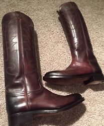 New Tom Ford Italy Carlos Leather Tall Riding Boots Embroidered Brown 3k+