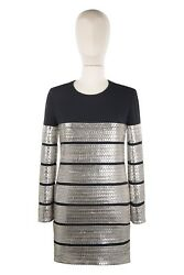 Tom Ford Leather Viscose 38it/2us/34eu Womenand039s Party Dress Black And Silver Cable