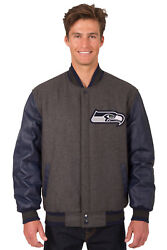 Nfl Seattle Seahawks Jh Design Reversible Leather Wool Poly Twill Jacket 203ref7