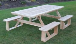 Aandl Furniture Co. 8' Amish-made Wheelchair-accessible Cedar Picnic Tables