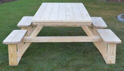 Aandl Furniture Co. 8and039 Amish-made Wheelchair-accessible Pine Walk-in Picnic Tables