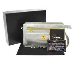 Authentic CHANEL CC Logos Clutch Hand Bag Silver Leather France Vintage B31562