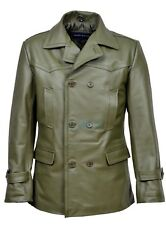 German Pea Coat Menand039s Classic Reefer Style Military Khaki Hide Leather Jacket