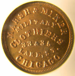 Chicago Illinois Marsh And Miner Military Clothiers 1863 Ngc Ms64 Red
