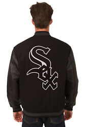 Mlb Chicago White Sox Jh Design Reversible Wool Twill Leather Jacket 203 Rev7