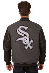Mlb Chicago White Sox Jh Design Reversible Leather Wool Twill Jacket 203 Re27