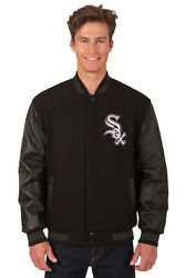 Mlb Chicago White Sox Jh Design Reversible Leather Wool Twill Jacket 203 Ref27