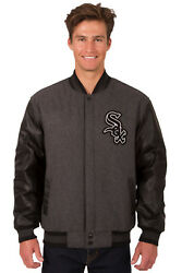 Mlb Chicago White Sox Jh Design Wool Twill Leather Reversible Jacket 203 Ref7