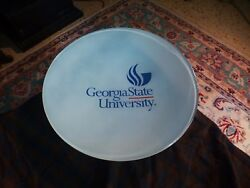 Georgia State University Gsu Glass Charger Tray Advertisement Rare 16