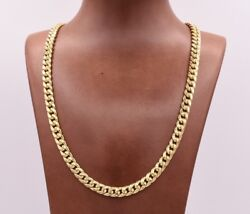 7.5mm Miami Cuban Link Chain Necklace Lobster Lock Real 10k Yellow Gold 26