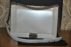 Authentic CHANEL Pearl Leather Boy Flap Bag - Pre-Owned