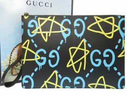 AUTHENTIC GUCCI 433665 Ghost GG Clutch bag Black Leather 0191