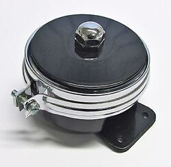 Lucas Type Hf1441 12 Volt Horn With Chrome Band Ideal For Vintage Motorcycle