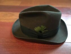 Vtg Stetson 3x Beaver Fedora Hat Size 7 1/8 Brown With Feather