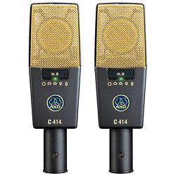 AKG C414 XL II Matched Pair of Studio Condenser Microphones Stereo C 414 XLII
