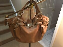 JIMMY CHOO Tan Leather Flap Shoulder Bag Purse Pocketbook Handbag Designer