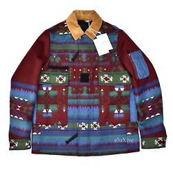 Nwt 4.5k Valentino Mens Navajo Blanket Woven Wool Military Jacket S M Authentic