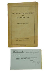 The Presentation Of Self In Everyday Life By Erving Goffman First Edition 1956