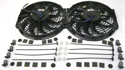 Dual 12 Street Rod Radiator Electric Cooling Fans + Install Kits Gm Ford Chevy