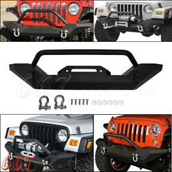 Rock Crawler Guard Front Bumper D-Ring Textured For Jeep Wrangler TJ YJ 87-06