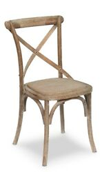 35 H Set Of Two Side Chair Solid Oak Wood Padded Woven Cane White Wash