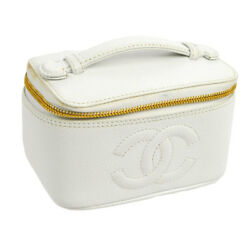 Auth CHANEL CC Cosmetic Vanity Hand Bag White Caviar Skin Leather VTG V22016