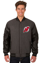 Nhl New Jersey Devils Jh Design Reversible Leather Wool Twill Jacket 203 Ref7