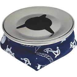6-blue Stainless Steel 4-1/8 Dia Bean Bag Boat Windproof Ashtray 79401