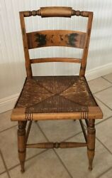 Antique Hitchcock Cane Seat Stencil Back Side Chair GREAT PATINA!