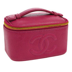 Auth CHANEL CC Cosmetic Mini Hand Bag Pouch Pink Caviar Skin Leather VTG V10801