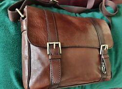 Fossil Leather Business Laptop Messenger Cross Body Satchel Bag for Men or Women