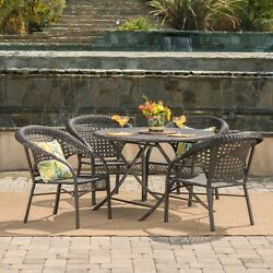 Mackenzie Outdoor 5 Piece Wicker Dining Set With Foldable Table And Chair