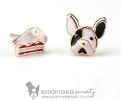 Boston Terrier & a slice of cake!  Fun mix and match Boston Terrier earrings