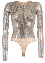 *MICHAEL KORS COLLECTION* Couture Sequin Embroidered Bodysuit Top NWT XS