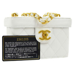 Auth CHANEL Quilted CC Messenger Chain Shoulder Bag White Caviar Leather YG01825