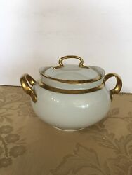 Hutschenreuther Selb Louise Sugar Bowl And Lid Gold Trim Bavaria