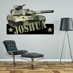 Tank Army Personalised Wall Sticker Childrens Boys Bedroom Decal Art Camouflage