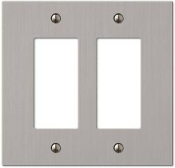 2 Decorator Wall Plate Switch Electrical Cover Brushed Nickel Metal With Screws